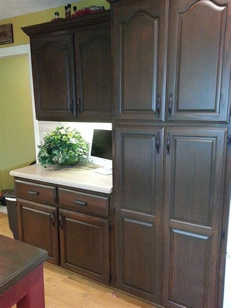 Gel Stain Oak Kitchen Cabinets by Antique Walnut Cabinet Transformation General Finishes