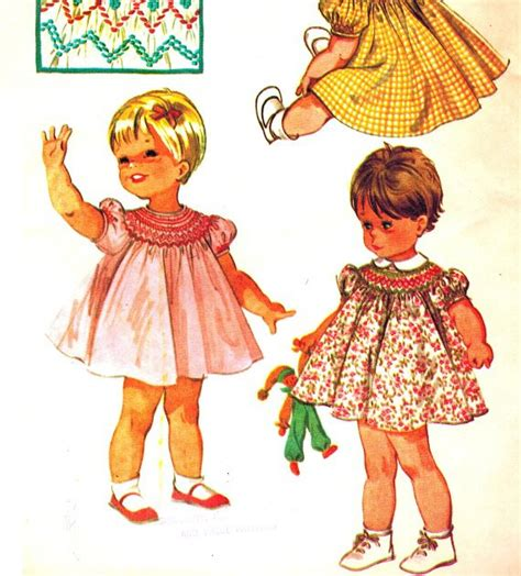pattern matching bishop mccall s 7842 vintage 60s toddlers smocked bishop dress