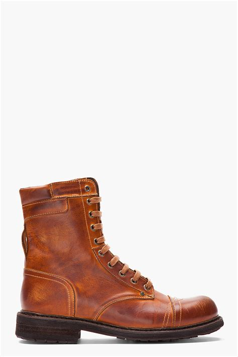 diesel scuffed leather cassidy combat boots in brown