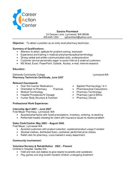 Tech Resume Sle Of Pharmacy Technician Resume Sle Resumes