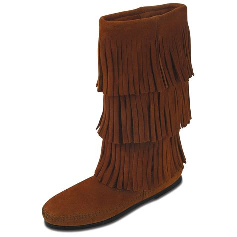 s minnetonka moccasins 3 layer fringe calf hi boot