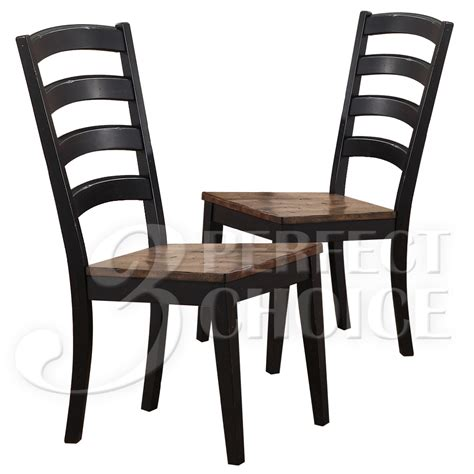 distressed dining room chairs cambridge country dining side chair set of 2 distressed rustic wood oak black ebay