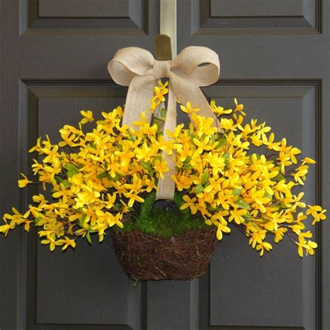 wreath ideas for front door spring wreath easter wreaths yellow forsythia wreath front