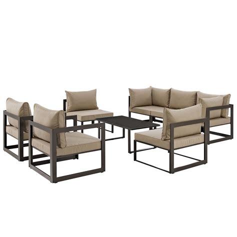 Sofa Fortuna lexmod fortuna 8 outdoor patio sectional sofa set by