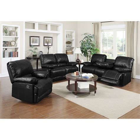 black bonded leather casual motion sofa set living room 2pc motion sofa set sofa loveseat black bonded leather