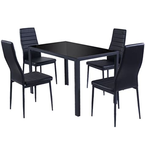 Glass And Metal Dining Table And Chairs Giantex 5 Kitchen Dining Set Glass Metal Table And 4 Chairs Breakfast Furniture