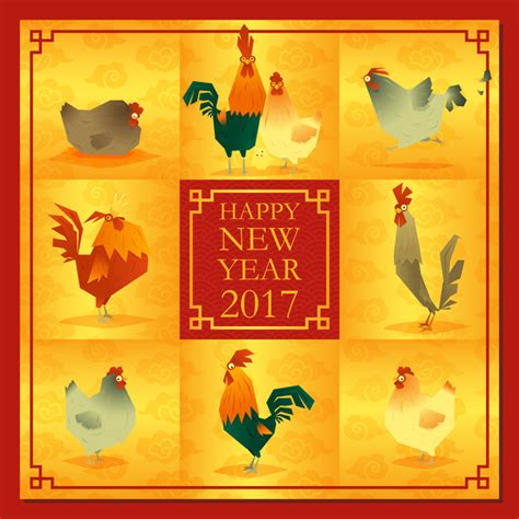 new year 2017 chicken chicken with 2017 new year background vector vector