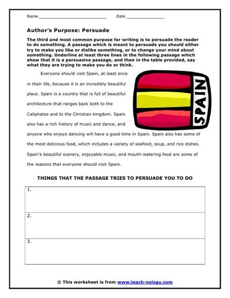 author study worksheet free author s purpose click to print 2 teach reading language and