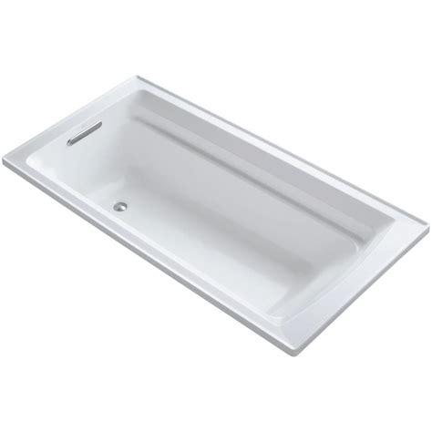 kohler soaker bathtubs kohler archer 6 ft reversible drain soaking tub in white