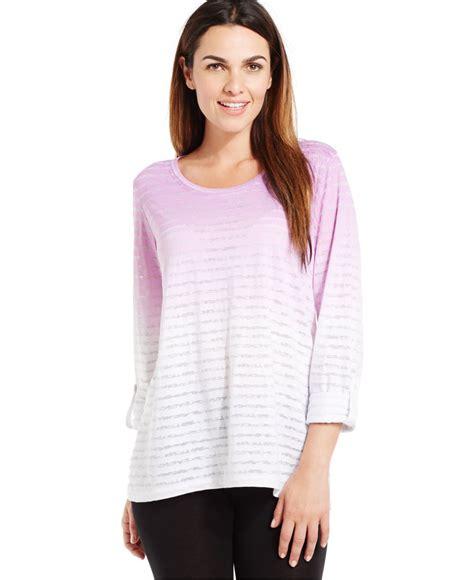 Ombre Sport Longsleeve Baju lyst style co sport sleeve striped ombre print top in purple