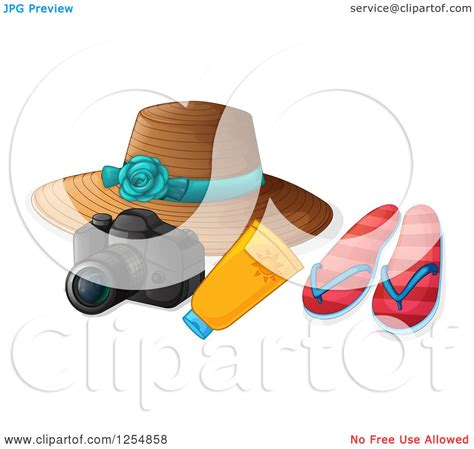 clipart of a summer travel camera hat sunblock and sandals