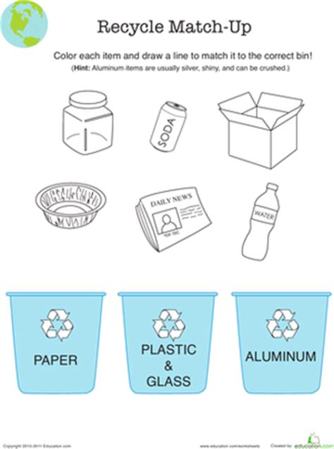 Recycle Worksheets by Recycling Worksheet Education
