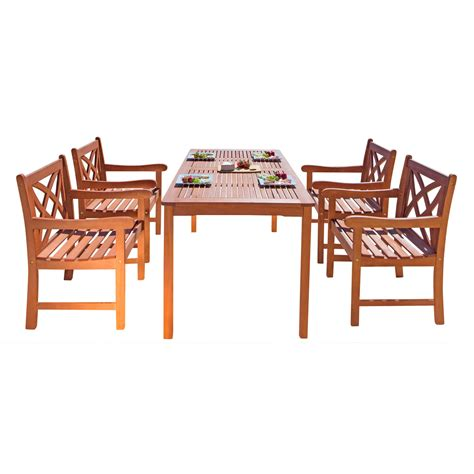 5 Pc Patio Dining Set Vifah Malibu 5 Pc Patio Dining Set With Flower Back Armchairs