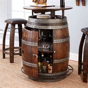 vintage oak wine barrel bistro table bar stools whiskey