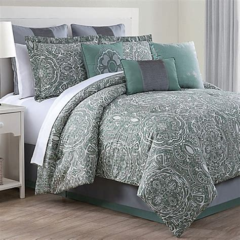 clara 9 piece comforter set in green grey bed bath beyond