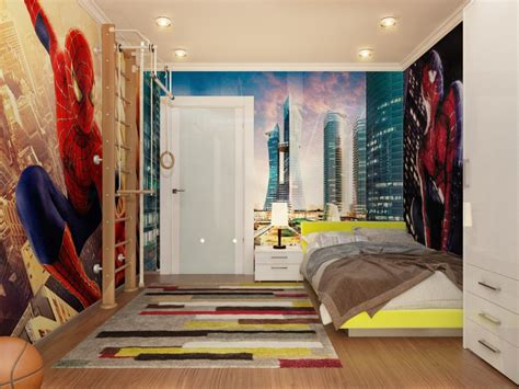 spiderman down lit boys room interior design ideas
