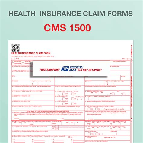 Cms 1500 Health Insurance Paper Claim Form 02 12 Fiachra Forms Charting Solutions Free Cms 1500 Claim Form Template