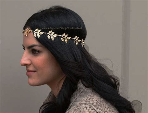 hairstyles with elastic headband sale gold leaf headband greek leaf with black elastic