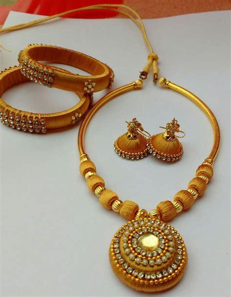 Handmade Thread Jewellery - shop 183 jewellery set made of silk thread in golden