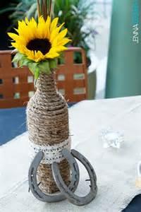 country centerpieces diy country western wedding centerpiece sunflower horseshoes twine wine bottle wedding