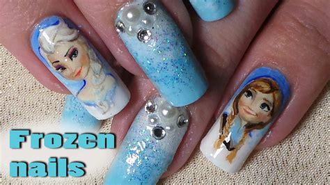 tutorial nail art frozen disney inspired frozen nail art tutorial timelapse