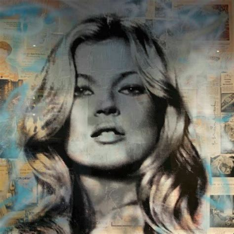 Warhol Vs Banksy Exhibition Features Kate Moss Image by Kate Moss Blue And White By Mr Brainwash Hepner