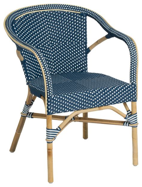 Navy Bistro Chairs Madeleine Outdoor Bistro Arm Chair Navy And White Contemporary Garden Dining Chairs By