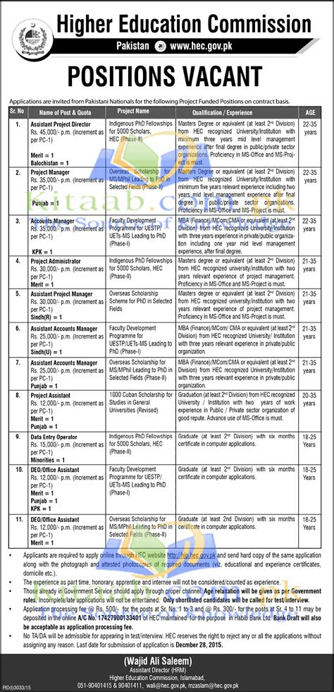 Hec Application Deadline Mba Time And Date by Higher Education Commission Hec Islamabad 2015