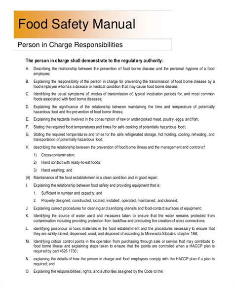 food safety manual template 8 sle safety manuals sle templates