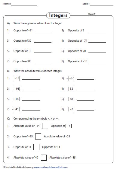 absolute value worksheets 6th grade livinghealthybulletin