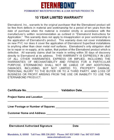 Eternabond Roof Tape Roof Repair Warranty Template