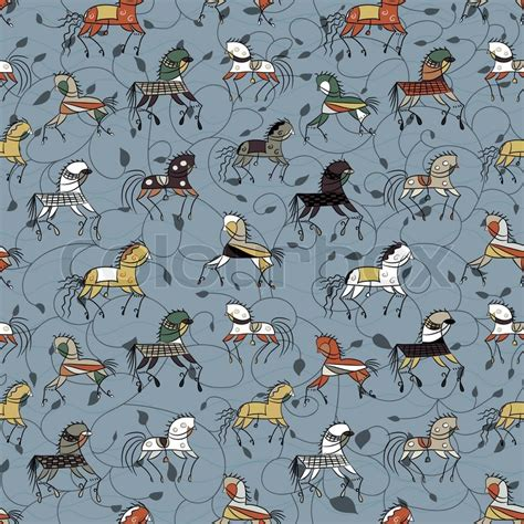 pattern for fabric horse ethnics horse galloping on a blue plant colored seamless
