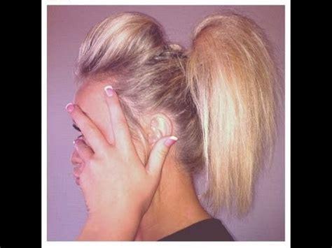 straight puffy cheer ponytail cheerleading hair tutorial the ponytail poof youtube