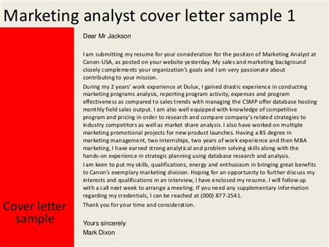 Database Marketing Analyst Cover Letter by Marketing Analyst Cover Letter