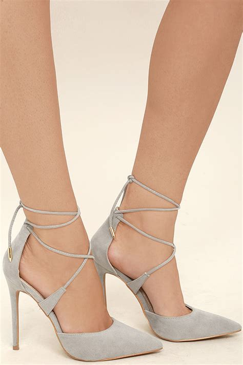grey suede high heels chic grey heels vegan suede heels lace up heels 36 00