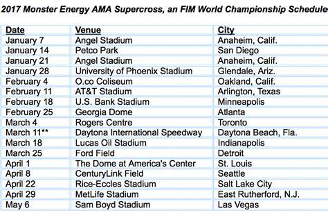 ama outdoor motocross schedule 2017 supercross schedule