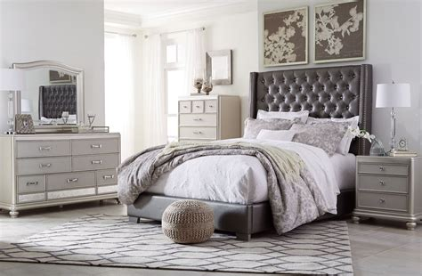 Coralayne Silver Bedroom Set by Coralayne Gray Textured Upholstered Youth Panel Bedroom