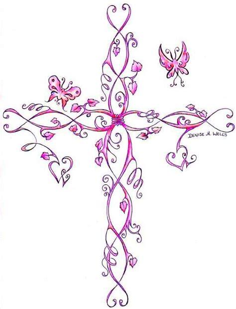 cross with rose vine tattoo clover vine vine design flash