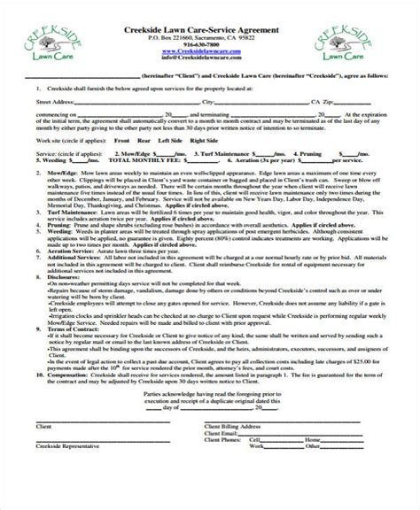 lawn care contract template 6 lawn service contract templates free sle exle