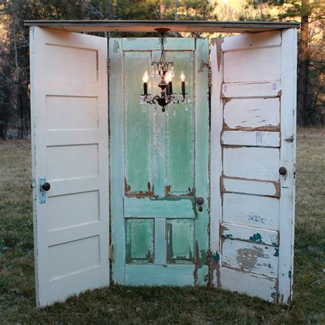 Vintage Doors by Vintage Three Doors With Chandelier White Aqua White