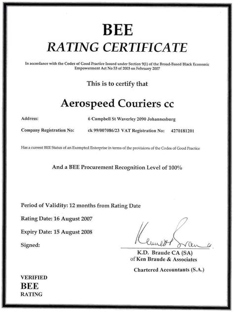 bee certificate aerospeed couriers
