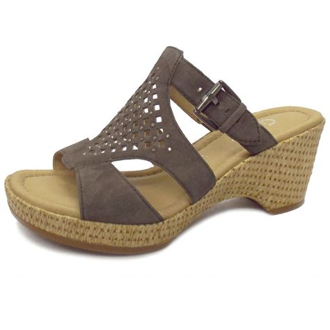 brown wedge sandals gabor sandals brown leather wedge sandals mozimo