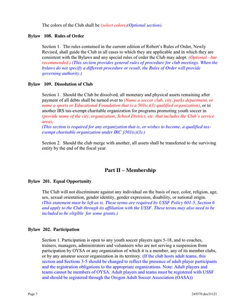 Club Bylaws Template In Word And Pdf Formats Page 7 Of 22 Robert S Of Order Bylaws Template