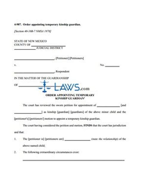 form   order appointing temporary kinship guardian