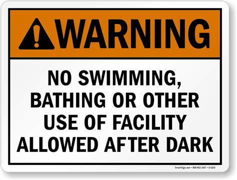 Warning Signs After Section by Warning No Swimming Bathing Allowed After Sign Sku