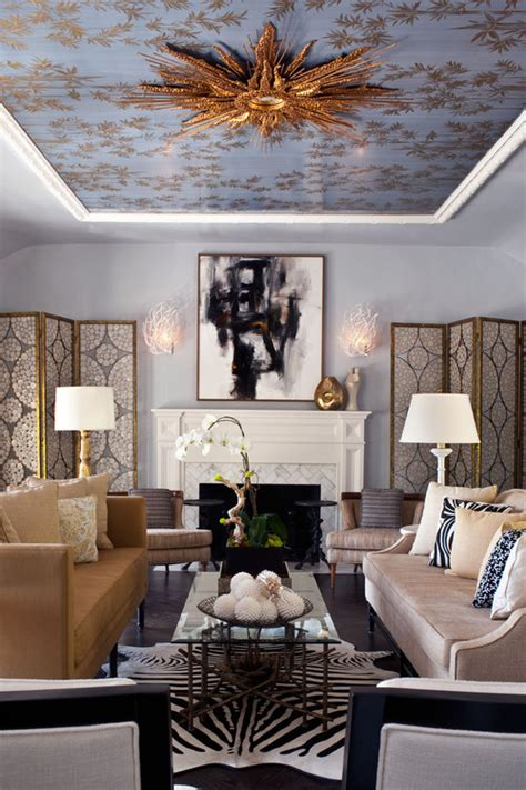 living room los angeles silver leaf ceilings that inspire decadence photos huffpost