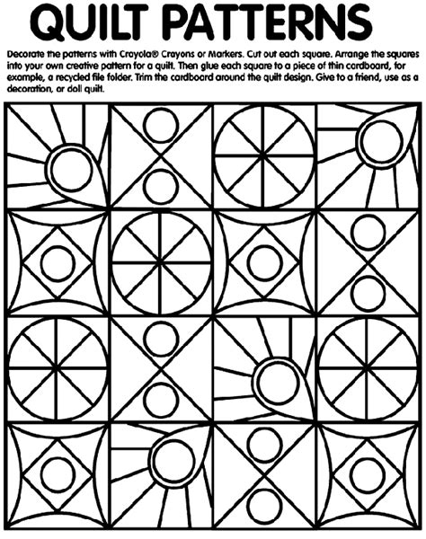 Quilt Pattern Coloring Pages quilt patterns coloring page crayola