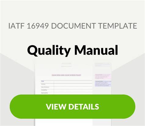 Iatf 16949 2016 List Of Mandatory Documents Iatf 16949 Quality Manual Template