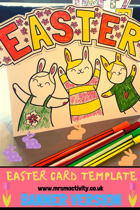 card template eyfs happy easter card template banner version mrs mactivity