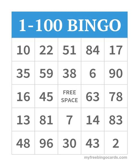 printable number bingo cards 1 100 free printable numbers bingo and printable numbers on